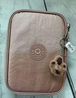 NWT Kipling 100 PENS Pencil Case Rose gold metallic. Ships F