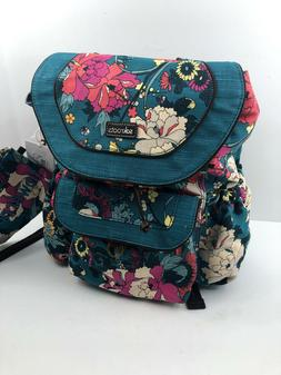 NWT Sakroots Flap Backpack FLOWER POWER TEAL Blue Pencil Cas