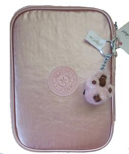 Kipling Nylon 100 Pens Icy Rose Metallic  Pink Zip Around Pe