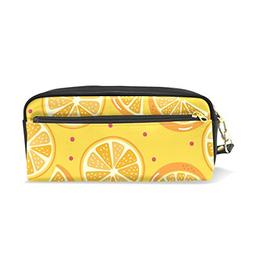 oranges leather zipper pencil case