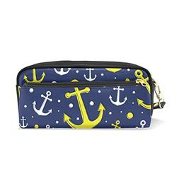 ColourLife Pen Bags Pencil Case Anchors On Dark Blue Leather