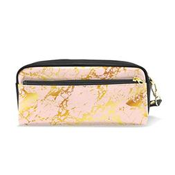 ColourLife Pen Bags Pencil Case Gold Marble On Pink Leather