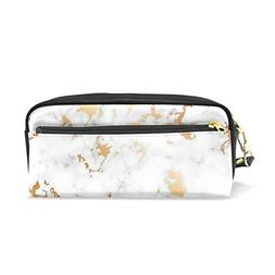 ColourLife Pen Bags Pencil Case Gold Black Marble Leather Zi