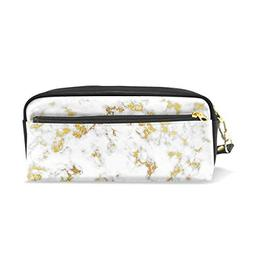 ColourLife Pen Bags Pencil Case Marble with Gold Leather Zip