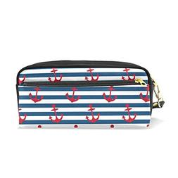 ColourLife Pen Bags Pencil Case Red Anchors On Blue Stripes