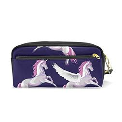 ColourLife Pen Bags Pencil Case Three Pink Unicorns Leather