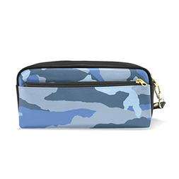 ColourLife Pen Pencil Case Blue Grey Camouflage Leather Zipp