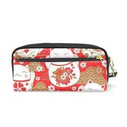 ColourLife Pen Pencil Case Cute Cats in Oriental Style Leath