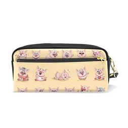 ColourLife Pen Pencil Case Cute Pig Emotions Leather Zipper