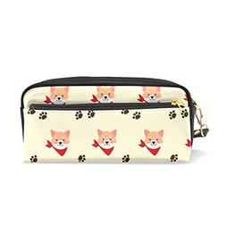 ColourLife Pen Pencil Case Cute Shiba Dog Leather Zipper Pou