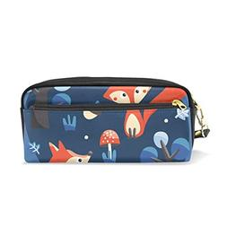 ColourLife Pen Pencil Case Foxes Squirrels On Dark Blue Leat