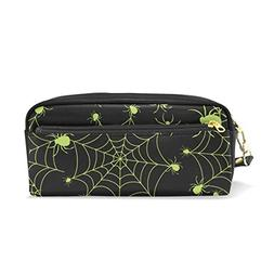 ColourLife Pen Pencil Case Halloween Green Spider Web Leathe