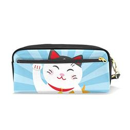 ColourLife Pen Pencil Case Lucky Cat On Blue Waves Leather Z