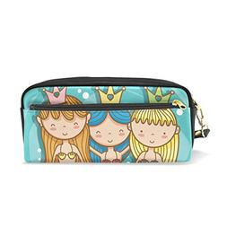 ColourLife Pen Pencil Case Three Mermaids Art Cartoon Leathe
