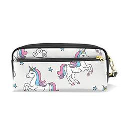 ColourLife Pen Pencil Case Unicorns and Stars Clouds Leather