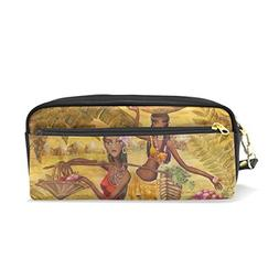 ColourLife Pencil Case Ancient Women Leather Pouch Bag Makeu