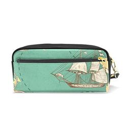 ColourLife Pencil Case Ancient Ocean History Leather Pouch B
