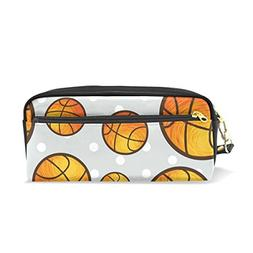 ColourLife Pencil Case Basketball Grey Back Leather Pouch Ba