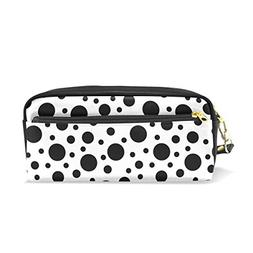 ColourLife Pencil Case Black Dot On White Leather Pouch Bag