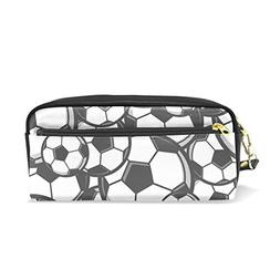 ColourLife Pencil Case Black White Football Leather Pouch Ba