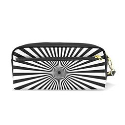 ColourLife Pencil Case Black and White Rays Zipper Pencil Ho