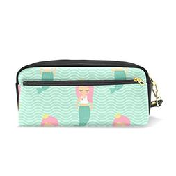 ColourLife Pencil Case Cute Pink Hair Mermaid Girl Zipper Pe