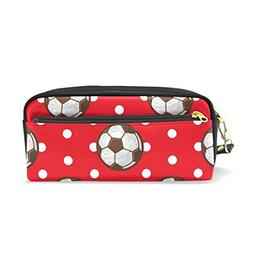 ColourLife Pencil Case Football White Dot On Red Pouch Bag M