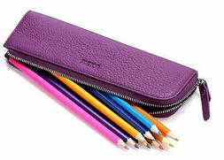 MEKU Pencil Case Genuine Leather Pen Case Stationery Bag Zip