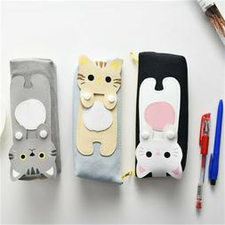 Pencil Case Kawaii Canvas Cats Pencil Box Storage Bag Statio