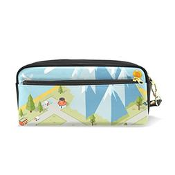 ColourLife Pencil Case Travel Paradise Island Pouch Bag Make
