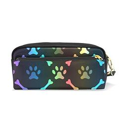 ColourLife Pencil Case Paw Footprint and Bone Black Zipper P