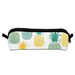 Pencil Case Pineapple Yellow Green Unique Round Stationery B