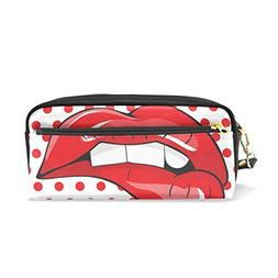 ColourLife Pencil Case Red Mouth Dot Leather Pouch Bag Makeu