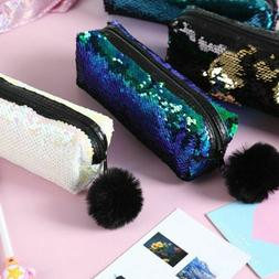 Pencil Case Reversible Sequin Hairball Makeup Bag For Girls