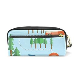 ColourLife Pencil Case Road and Campsite Leather Pouch Bag M