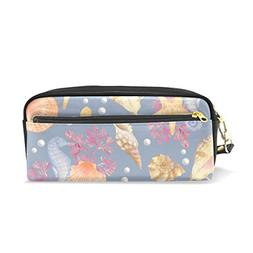 ColourLife Pencil Case Sea Pattern On Grey Leather Pouch Bag