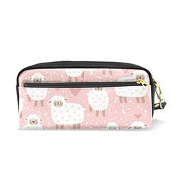 ColourLife Pencil Case Sheep On Pink Leather Pouch Bag Makeu