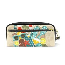 ColourLife Pencil Case Summer Beach Set Leather Pouch Bag Ma