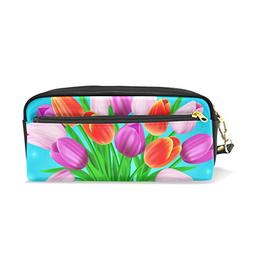 ColourLife Pencil Case Tulips On Blue Leather Pouch Bag Make