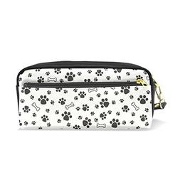 ColourLife Pencil Case White Black Dog Paw Leather Pouch Bag