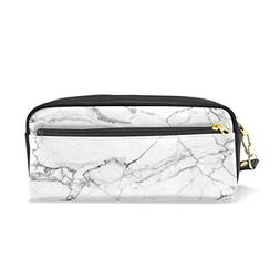 ColourLife Pencil Case White Beautiful Marble Zipper Pencil