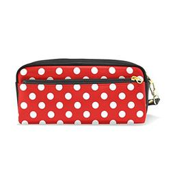 ColourLife Pencil Case White Polka Dot On Red Pouch Bag Make