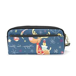 ColourLife Pencil Case New Year's Funny Moose Zipper Pencil