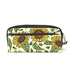 ColourLife Pencil Case Yellow Sunflowers Leather Pouch Bag M