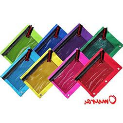 Omura Pencil Pouch, Mesh Windows, Zippered & Standard 3-Ring