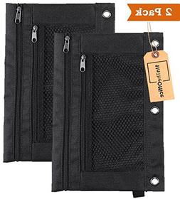"1InTheOffice Pencil Pouch 3 Ring, Black,""2 Pack"""
