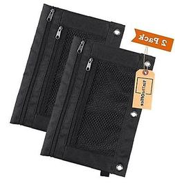 "1InTheOffice Pencil Pouch 3 Ring, Black, ""2 Pack""  Canvas Bl"