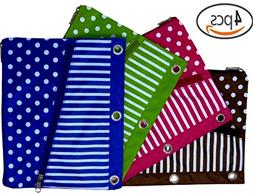 Pencil Pouch for 3-Ring Binder, Pen Holder Case with 2 Zippe