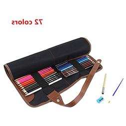 MineDecor 72 Pack Colored Pencils with Case Roll Up Wood Pro