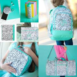 PERSONALIZED MINT & GREY PAISLEY BACKPACK LUNCH BOX TOTE DUF